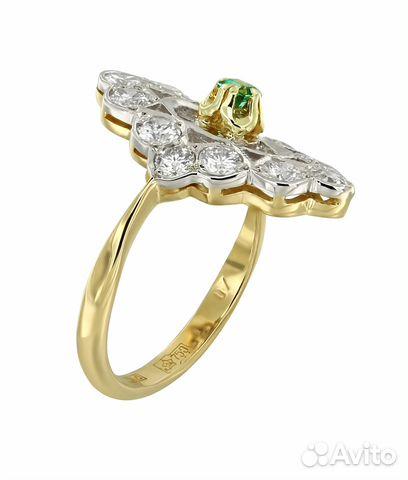 Золотое кольцо с изумрудом и бриллиантами 0,96ct купить в Москве на ... 9266310d296