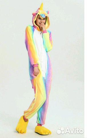 Пижама кигуруми Единорог (радуга) L-170 92 купить в Саратовской ... ca15a6504bd22