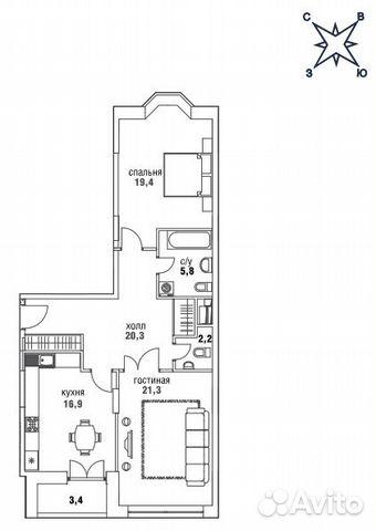 Продается двухкомнатная квартира за 39 780 000 рублей. Верхняя, 34, корп.1.