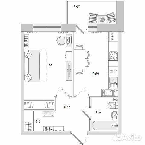 1-к квартира, 38.9 м², 9/15 эт.