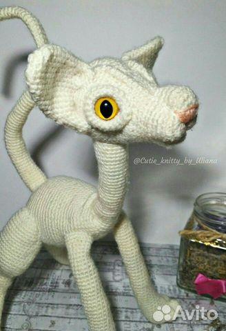 Вязание на заказ. Игрушка кот сфинкс вязаный