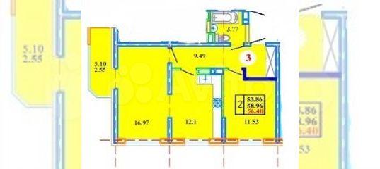 2-к квартира, 59 м², 8/15 эт.