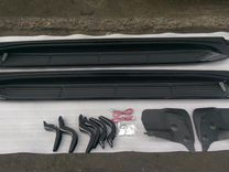 Подножки Toyota Land Cruiser 200 с подсветкой черн