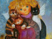 """Картина маслом"""" любимые коты моего ангела"""""""