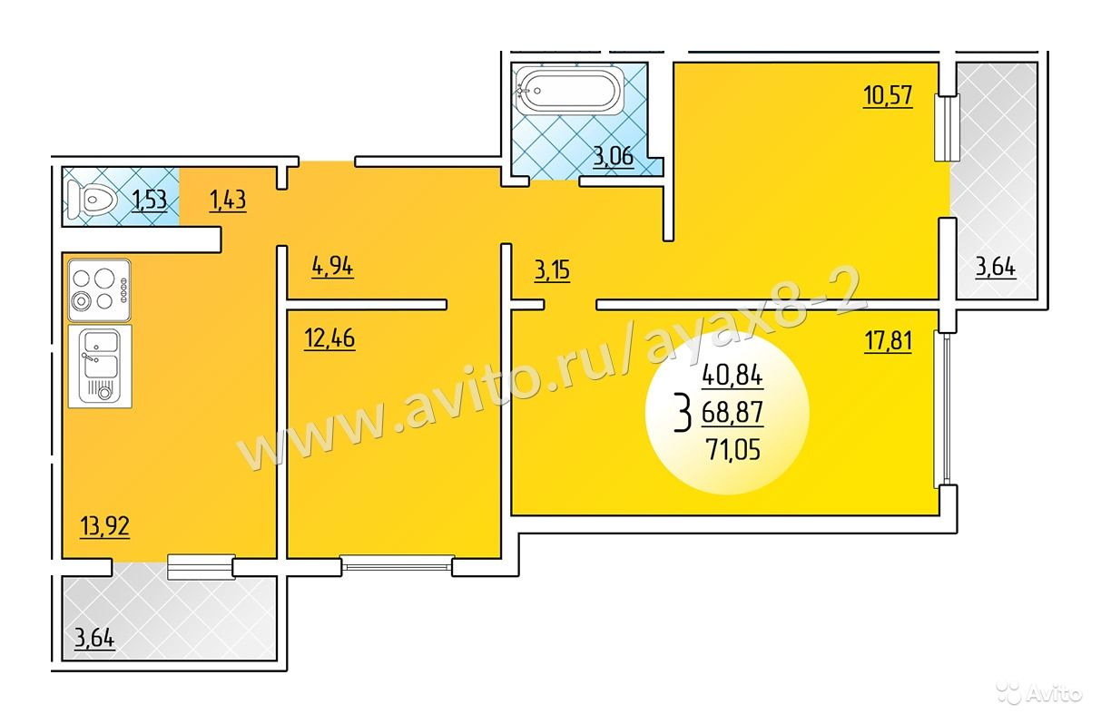 Продам квартиру в краснодаре, площадь 72 кв.м.. цена 2 271 0.